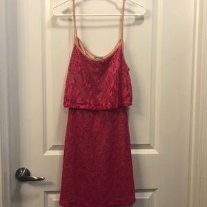 Pink Vfish popover minidress with cutout back